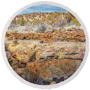 Natural Bridge At Lava Beds Round Beach Towel