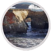 Natural Bridge At Point Arena Round Beach Towel by Mick Anderson
