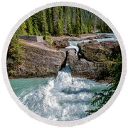 Natural Bridge Yoho National Park Canada Round Beach Towel