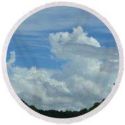 Natural Clouds Round Beach Towel