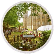 Round Beach Towel featuring the photograph Natural History Museum Summertime by Anne Kotan