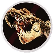 Natural History- T Rex Round Beach Towel