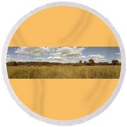 Natural Meadow Landscape Panorama. Round Beach Towel