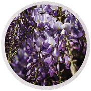Natural Wisteria Bouquet Round Beach Towel