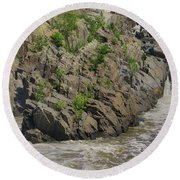 Nature Blooming From The Rocks Round Beach Towel