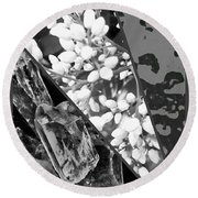 Nature Collage In Black And White Round Beach Towel