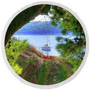 Nature Framed Boat Round Beach Towel