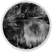 Nature In Black And White Round Beach Towel