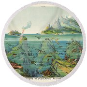 Nature - In - Descending - Regions - Geological Chart Round Beach Towel