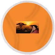 Nature Joy  Round Beach Towel