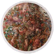 Round Beach Towel featuring the painting Nature Or Abundance by Leon Frederic