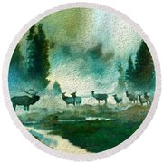 Nature Scene Round Beach Towel