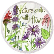 Nature Smile With Flowers Round Beach Towel