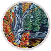Round Beach Towel featuring the painting Natures Faces by Marilyn  McNish