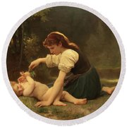 Natures Fan Round Beach Towel by Troy CapertonWilliam Adolphe Bouguereau