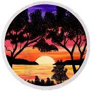 Nature's Gift - Ocean Sunset Round Beach Towel