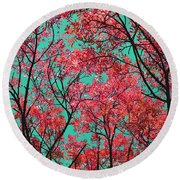 Natures Magic - Fire Red Round Beach Towel