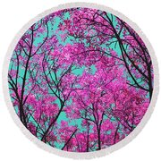 Natures Magic - Pink And Blue Round Beach Towel