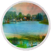Nature's Magical Sunsets Round Beach Towel by Judy Palkimas