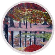 Round Beach Towel featuring the painting Natures Painting by Marilyn  McNish