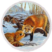 Natures Submission Round Beach Towel by Marilyn McNish