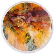Naturescape In Red Round Beach Towel by Carolyn Rosenberger