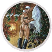 Naughty Santa Round Beach Towel
