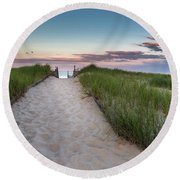 Nauset Beach Sunset Round Beach Towel by Bill Wakeley