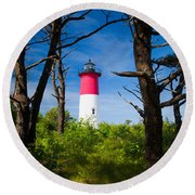 Nauset Lighthouse Round Beach Towel