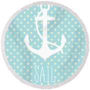 Nautical Anchor Round Beach Towel