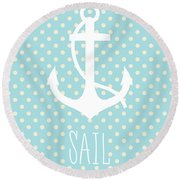 Nautical Anchor Art Print Round Beach Towel by Taylan Apukovska