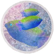 Round Beach Towel featuring the photograph Nautical Beach And Fish #3 by Debra and Dave Vanderlaan