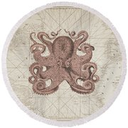 Nautical Octopus Sea Chart Round Beach Towel