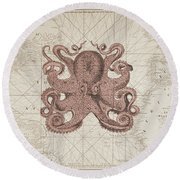 Nautical Octopus Sea Chart Round Beach Towel