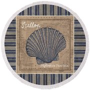 Nautical Stripes Scallop Round Beach Towel