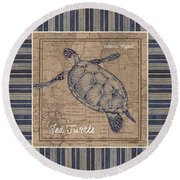 Nautical Stripes Sea Turtle Round Beach Towel by Debbie DeWitt