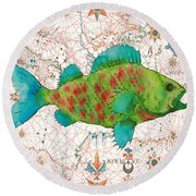 Round Beach Towel featuring the painting Nautical Treasures-a by Jean Plout