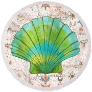 Round Beach Towel featuring the painting Nautical Treasures-b by Jean Plout