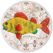 Round Beach Towel featuring the painting Nautical Treasures-c by Jean Plout
