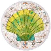 Round Beach Towel featuring the painting Nautical Treasures-d by Jean Plout