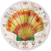 Round Beach Towel featuring the painting Nautical Treasures-f by Jean Plout