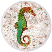 Round Beach Towel featuring the painting Nautical Treasures-h by Jean Plout