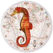 Round Beach Towel featuring the painting Nautical Treasures-i by Jean Plout