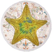 Round Beach Towel featuring the painting Nautical Treasures-j by Jean Plout