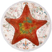 Round Beach Towel featuring the painting Nautical Treasures-k by Jean Plout