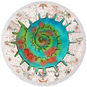 Round Beach Towel featuring the painting Nautical Treasures-m by Jean Plout