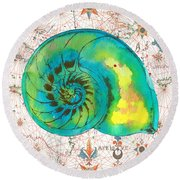 Round Beach Towel featuring the painting Nautical Treasures-n by Jean Plout