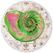 Round Beach Towel featuring the painting Nautical Treasures-o by Jean Plout