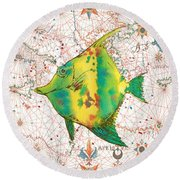Round Beach Towel featuring the painting Nautical Treasures-p by Jean Plout