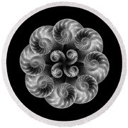 Nautilus Abstract Art Round Beach Towel by Tom Mc Nemar